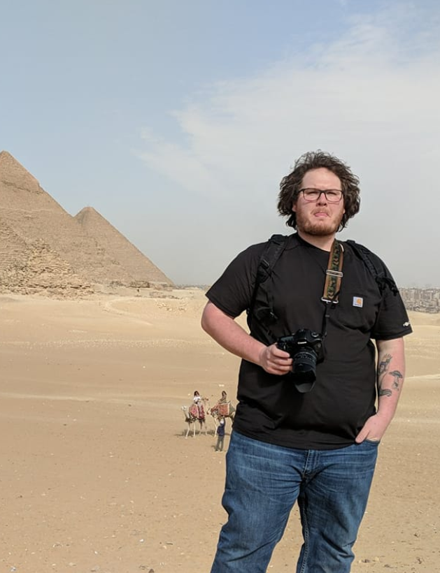 Max reporting at the Pyramids of Giza in February of 2019.